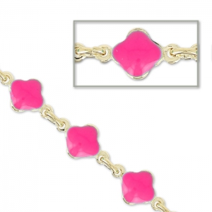 Chain with enameled flowers 6.6mm Pink gold tone x 50cm