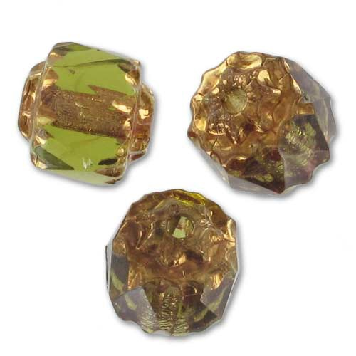 Polished Olivine Basalt Fire : Antique fire polished faceted beads mm olivine bronze
