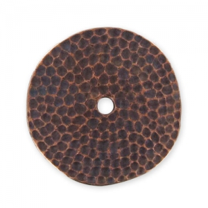 Hammered spacer round 1 hole 25mm Old Copper tone x1