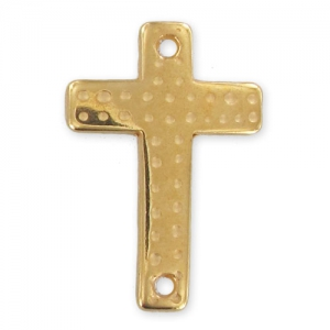 spacer cross 2 holes 40x30mm Gold tone x1