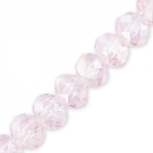 Fire Polished faceted flat round 4x3mm Light Rose AB x30cm