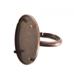 Ring for 18x13mm flat back cab Old Copper tone x1