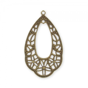 Filigree finding 33x19mm Bronze tone x1