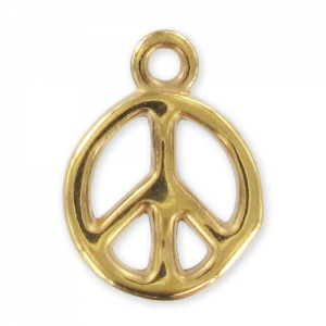 peace charm 18mm gold tone x1