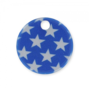 Printed Sequin 15mm Stars Blue/white x1