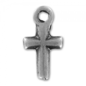 Cross Charms  13mm Old silver tone x5