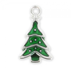 Fir Tree Charm Enamelled epoxy 23mm Green x1
