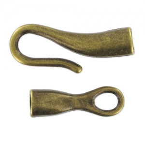 Hook and eye clasp for 4mm cord Bronze tone x1