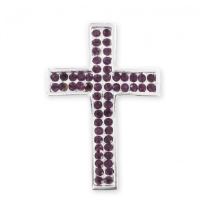 Spacer cross with rhinestones 39 mm silver tone/Amethyst x1