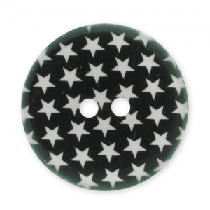 Decorated Button 28mm Stars  Black/White x1