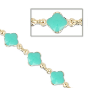 Chain with enameled flowers 6.6mm Mint gold tone x 50cm