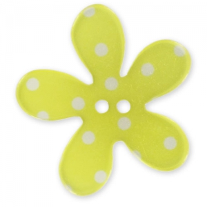 Flower Button 30mm Polka-dot Yellow x1