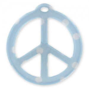 Peace pendant 26mm Polka-dot Aqua x1