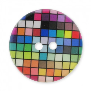 Decorated Button 28mm Squares Multicolor x1