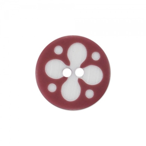Decorated Button 15mm Burgundy/Blanc x1
