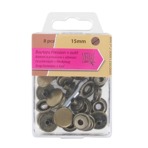 Snap fasteners + tool 15 mm Bronze tone x8