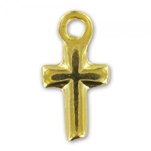 Cross Charms  13mm Gold tone x5