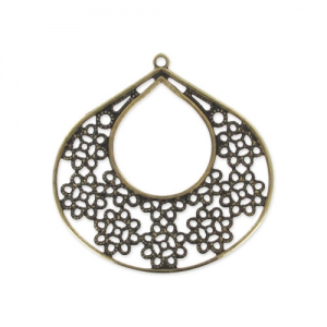 Pendant drop filigreed flower 40 mm bronze x1