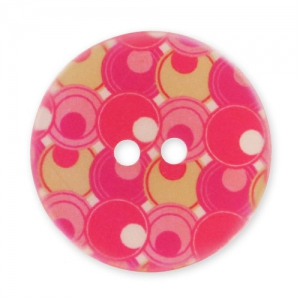 Decorated Button 28mm Bubbles Pink/Red x1