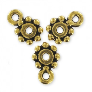 Spacer to fasten charms 10mm Old Gold tone x4