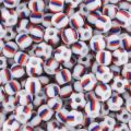 Seed beads 2,5mm striped white/Blue /Brown x10g