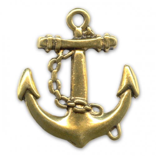Pendant Navy Anchor 31mm Old Gold Tone X1 Perles Co