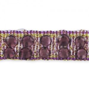 Hotfix ribbon with strass 7 mm golden/Amethyst x50cm