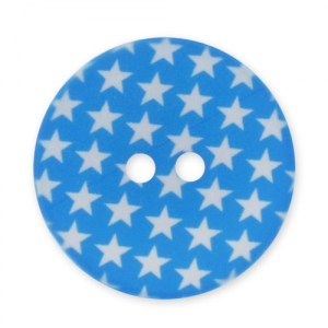 Decorated Button 28mm Stars Aqua/White x1
