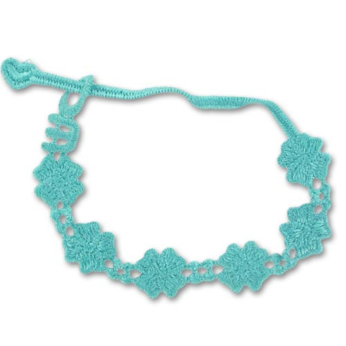 macrame embroidery bracelet flowers 14mm turquoise x1 perles co. Black Bedroom Furniture Sets. Home Design Ideas