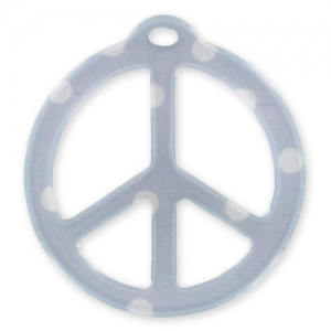 Peace pendant 26mm Polka-dot Grey x1