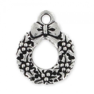 Christmas Wreath charm 20mm Old Silver tone x1