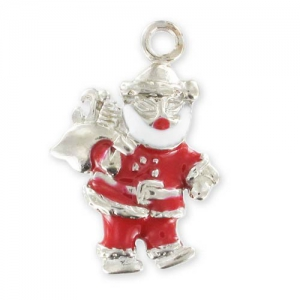 Santa Claus Charm Enamelled epoxy 25mm Red x1