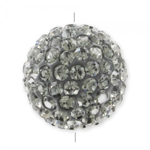Plasticine round bead rhinestones 14mm Black Diamond x1