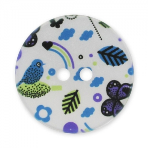 Decorated Button 28mm Butterflies White/Purple x1