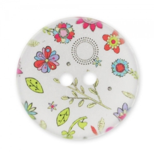 Decorated Button 28mm little Flowers White/Multicolor x1