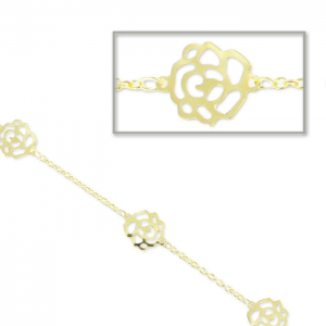 Chain flowers 1.8mm gold tone x 1m