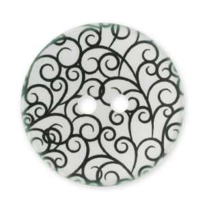 Decorated Button 28mm swirls Black/White x1