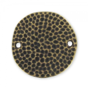 Hammered spacer round 2 holes 25mm Bronze tone x1