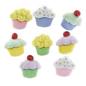 Set of buttons Cupcakes x8