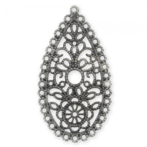 Filigree finding 50x27mm Old Silver tone x1