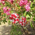MOP printed Puck-shaped bead 30mm Small flowers x1