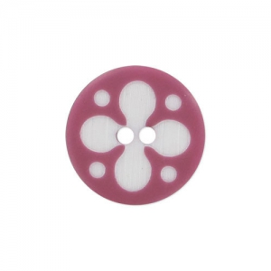 Decorated Button 15mm Pink/White x1