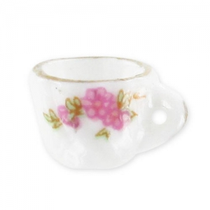 Ceramic Cup  14x8mm Rose and golden edging x1