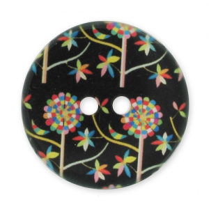 Decorated Button 28mm Flowers Black/Multicolor x1