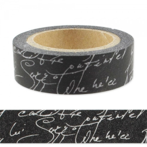Adhesive tape 15 mm Scripture Black/Silver x10m