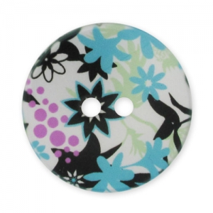 Decorated Button 28mm Flowers Blue/Black x1