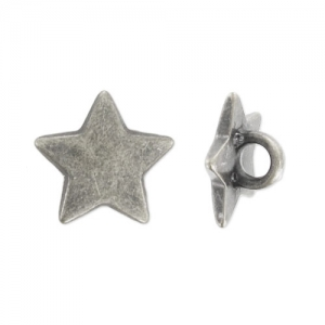 Star button 11mm Old silver tone x1