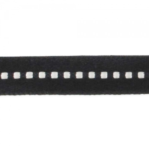 Satin ribbon  6mm with dots black/white x1m