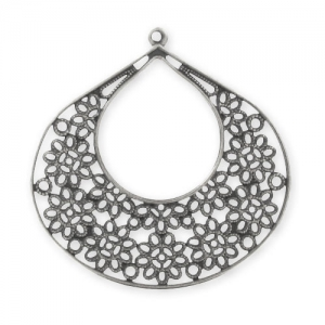 Pendant drop filigreed flower  52 mm Old Silver tone x