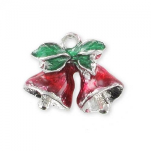 Bells Charm Enamelled epoxy 13mm Red x1